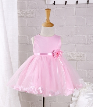 2016 baby Girls Dress Pink Lace Petal Christening gown 1 year birthday Dress Vestidos Infantis Princess Lace Flower Dress