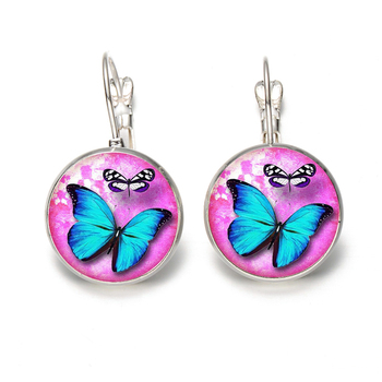 Elegant And Exquisite Lady Jewelry Animal Blue Butterfly Round Glass Cabochon Stud Silver & Bronze Earrings