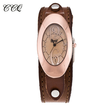 2017 CCQ Especially Brand Genuine Leather Bracelet Watch Popular Women Quartz Watches Wrist Watch Clock Gift Drop Shipping