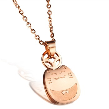 YUN RUO Fortune Cat Pendant Necklace Woman Gift Jewelry Titanium Steel Rose Gold Color Present No Fade