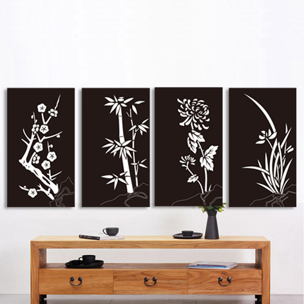 Traditional Chinese Style Canvas Print Mei Lan Zhu Ju White Black Wall Poster Art Picture Modern Wall Picture No Frame LZ324