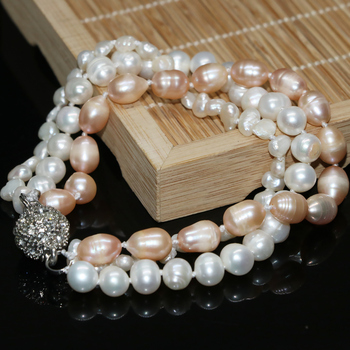 Natural white orange freshwater pearl Irregular lovely beads diy 3 rows multicolor Necklace making 8 inch G006