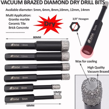 DIATOOL Dia 6mm Vaccum Brazed Diamond Drilling Bits For Stone(2PCS) Porcelain/tile,Masonry Hex Shank Dry Drill Bits