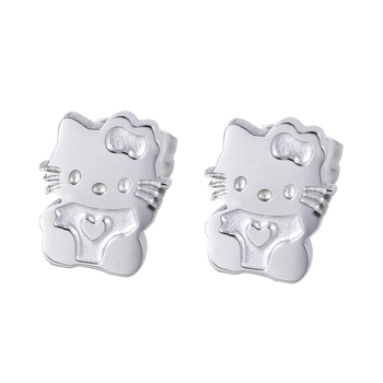 Girls Cute Earrings Lovely Hello Kitty Cat Ear Jewelry Quality Gold-Color Stainless Steel Stud Earring Gift for Girlfriend