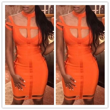 Orange renk bayanlar hl bandaj dress kolsuz seksi haler bodycon mini dress seksi club night dress