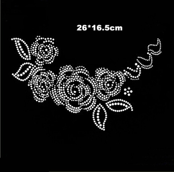 Rose pattern hot fix rhinestone motif,heat transfer design rhinestone motif,embellishment for garment(ss-3727)