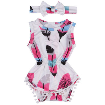 Infant Baby Girls Bodysuit Children Clothing Summer Costume Girl Floral Jumpsuit Bodysuits Headband 2pcs Outfits Set Sunsuit